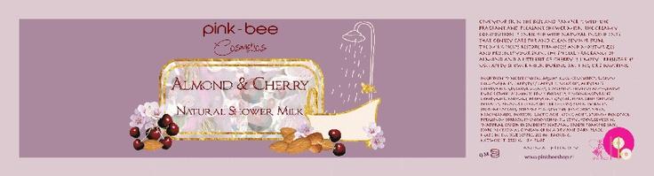 ALMOND & cherry SHOWERMILK  label design