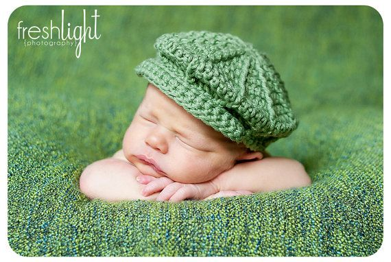 Crochet Baby Newsboy Hat Pattern for Newborn to by mangomum, $3.00