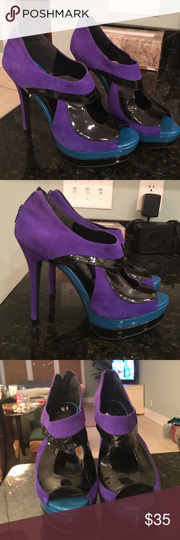 Jessica Simpson Heels Size 9 Size 9 Jessica Simpson heels purple, blue and black. Never been worn. Jessica Simpson Shoes Heels