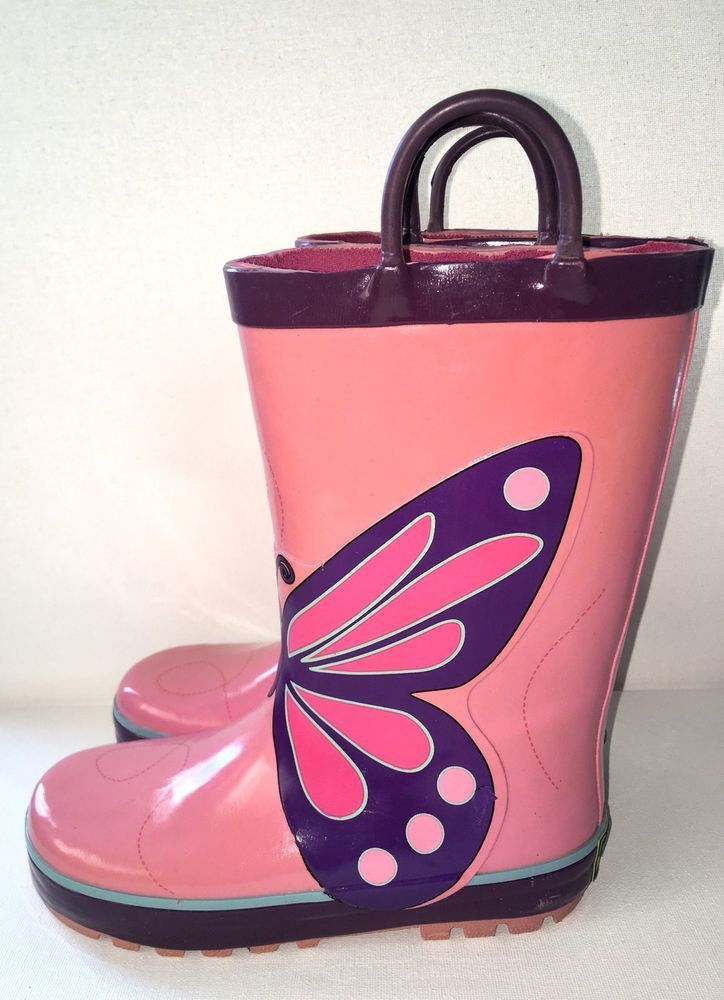 Girls Western Chief Rain Boots Wings Pink Butterfly Print Purple Size 11   eBay