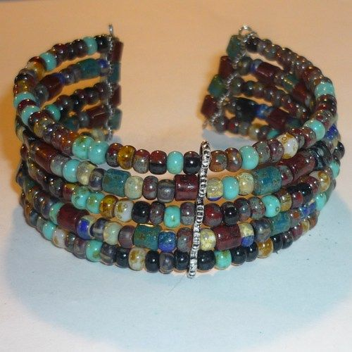 Five Strand Memory Wire Seed Bead Cuff Bracelet | Seagoddess - Jewelry on ArtFire
