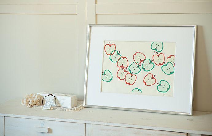 木版画 原田裕子「青りんご赤りんご」 - 竹笹堂オンラインショップ   木版画 和紙製品 インテリア アート通販