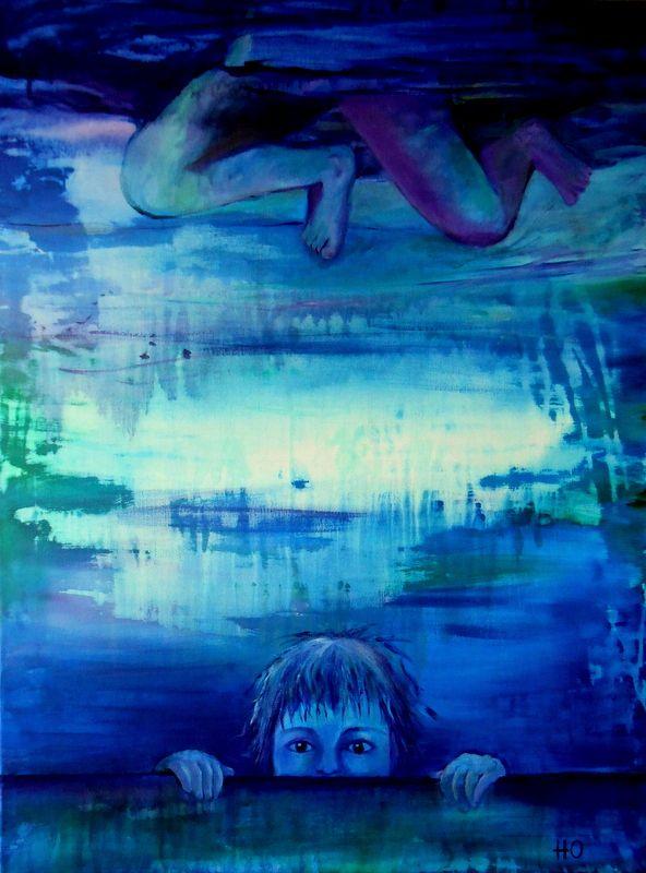 Acrílico sobre tela 80x60 by Helena Oliveira. Caem como pedras, poema de Eugénio de Andrade