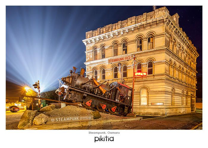 The Steampunk Oamaru holds a collection of industrial steampunk Art. It's known for it's train that lights up at night, spits fire and billows smoke!  This image is by photographer Graham Warman, who is new to the Pikitia Range. Check out his work at http://www.grahamwarman.co.nz/
