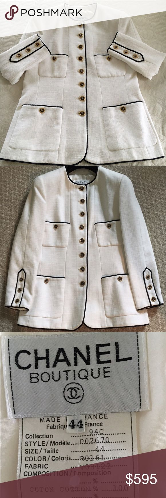 """Authentic CHANEL Creme and Black Blazer Size:44 CHANEL BOUTIQUE Creme and Black Jacket with Grosgrain Ribbon Trim                                           Details:  Size:  44.  Measurements: Shoulder 16"""", Sleeve 23"""", Length 29"""" and Bust 42"""".  From 1994 Cruise Collection,. 100% Silk Lined.  Made in France.  18 Gold and Black CC Logo Buttons-all stamped. Great Pre-Owned Condition.  Please let me know if you have any questions. Thanks for looking!! CHANEL Jackets & Coats"""