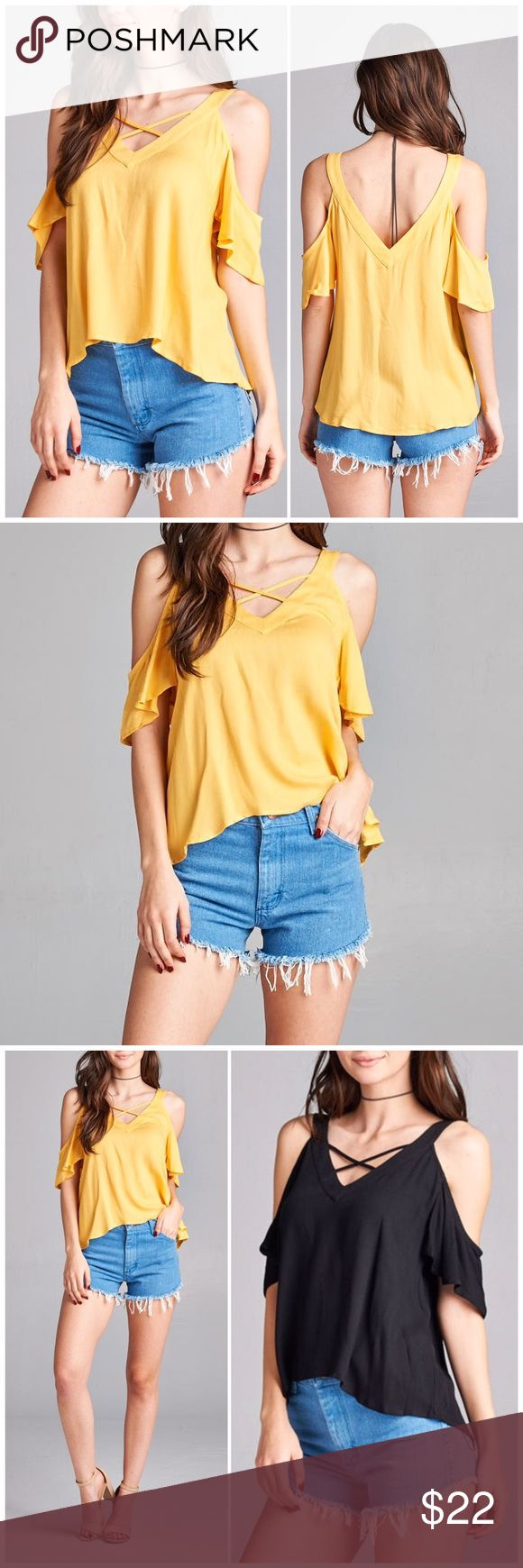 Cold Shoulder Strappy Top Yellow Cold Shoulder Strappy v neck top. Fits true to size small 4/6, medium 8/10 and large 12. 100% Rayon. Available in other colors in my closet Tops