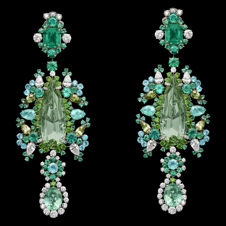 Dior Jewellery – Dear Dior: 'Organza Brodé Paraiba' earrings. Discover more on www.dior.com: Dior Earrings, Christian Dior, Dior Jewellery, Castellane, Jewelry, Jewels, Dear Dior, Dior Indulg, Organza Brode