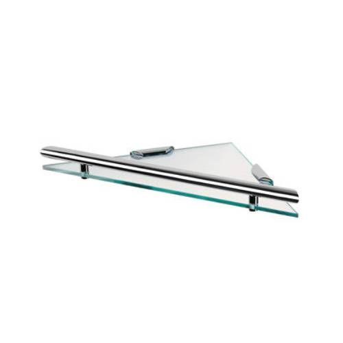 Geesa by Nameeks 6521-02 Clear Glass Tray Triangular Shelf in Chrome Plated Brass