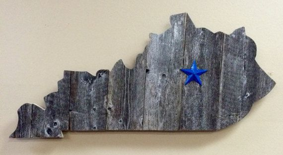 Kentucky State Shape Rustic Wood Sign Hanger UK Wildcat Blue Star – Two Sizes – House projects
