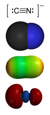 Cyanide: any chemical compound that contains the monovalent combining group CN; consists of a carbon atom triple-bonded to a nitrogen atom; is a negatively charged ion when present in inorganic cyanides like sodium cyanide; most are highly toxic
