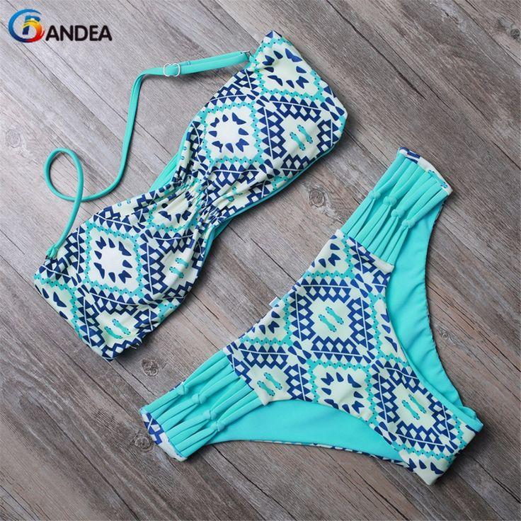BANDEA Bikini 2017 Two Piece Bikini Floral Print Swimwear Summer Swimsuit maillot de bain Bathing Suit Halter Bikinis HA847