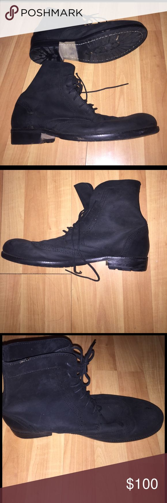 Ben Sherman Suede Black high men's boots for sale Suede Ben Sherman lace up wingtip boots Ben Sherman Shoes Boots