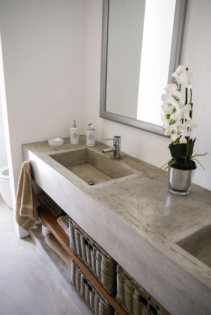 Cemcrete's SatinCrete or CreteCote can be used to coat a bathroom vanity