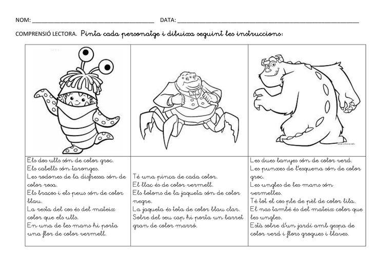 Pintar i dibuixar seguint les instruccions potenciant la comprensió lectora. Dos tipus de lletra pal i lligada.