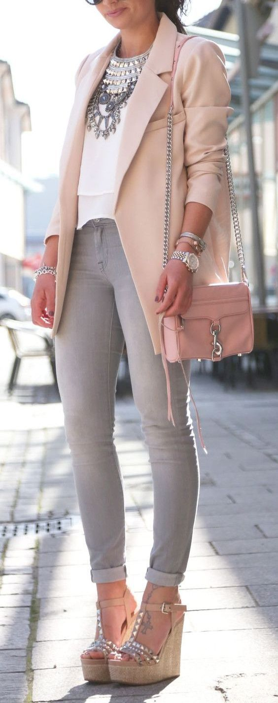 Spring fashion / Pastel colors / Blush jacket   white blouse   grey denim