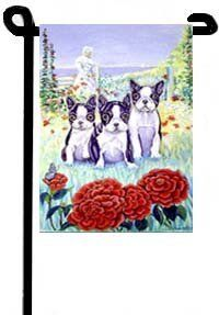 "Boston Terrier Puppies - Garden Flags by Flagline.com. $11.75. 11"" x 15"". The Garden size flag is made from a 100% polyester material. Two pieces of material have been sewn together to form a double sided flag. This allows the text and image to be seen the same from both sides. This flag is fade resistant and weather proof. The flag measures approximately 11 inches x 15 inches (garden stand sold separately).  This is a new item, and can take from 10-14 days to ship."