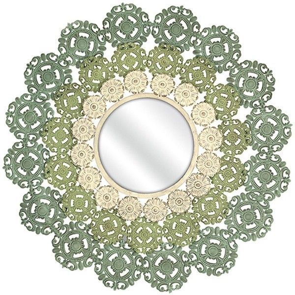 Mcguire Medallion Mirror ($285) ❤ liked on Polyvore featuring home, home decor, mirrors, sunburst mirror, traditional mirrors, traditional wall mirrors, sun shaped mirror and green mirror
