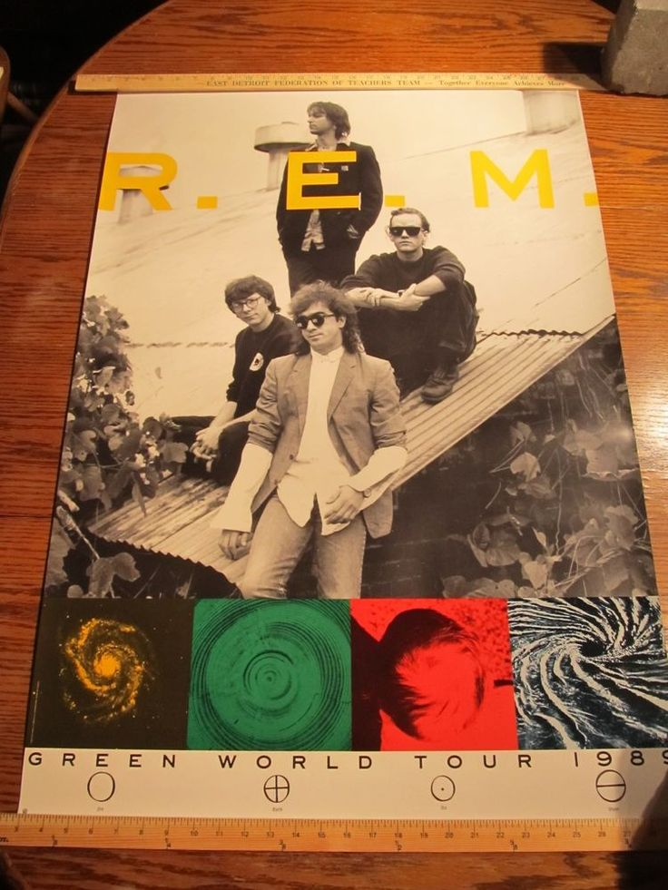 Vintage Original 1989 R.E.M. Green World Tour Concert Poster