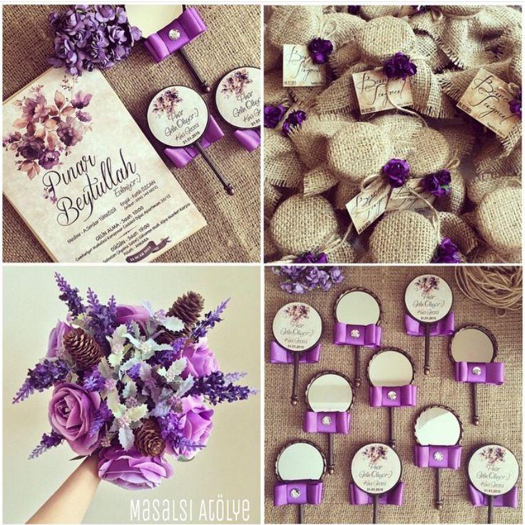 Mor düğün teması / purple wedding theme www.masalsiatolye.com