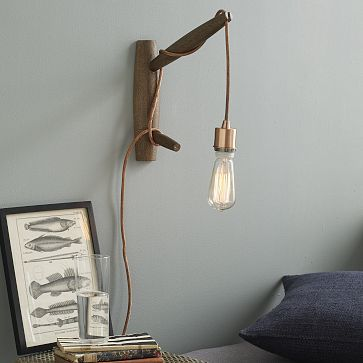 Instead of these pegs, could have more branch shaped dowels & buy sconce at Home Depot [bevel diameter of top branch]