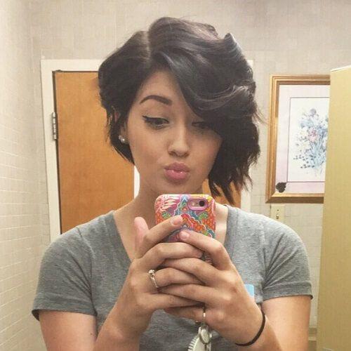 Curly Asymmetrical Pixie Haircut