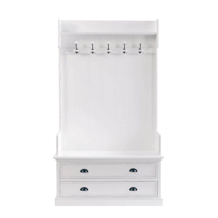 Wooden hallway unit with 5 hooks in white W 110cm