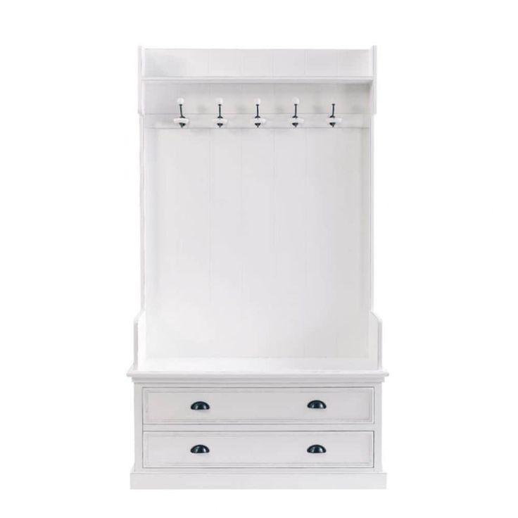 Garderobenmöbel mit 5 Kleiderhaken, B 110cm, weiß | Maisons du Monde