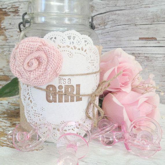 DIY Baby Shower Decorations, 5 Burlap Jar Wraps, It's a Girl Baby Shower Centerpiece, Mason Jar Centerpiece Idea,  DIY Baby Shower Gifts