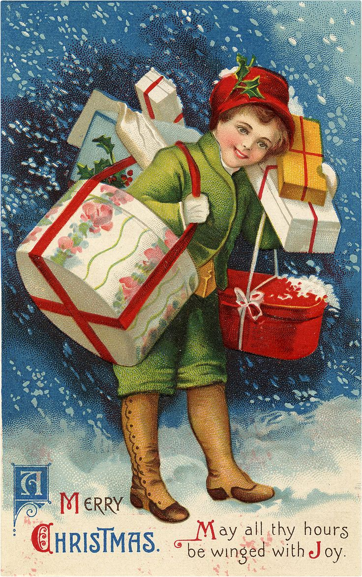 NOSTALGIC CHILD CARRYING CHRISTMAS PRESENTS GRAPHIC! Written by Karen GraphicsFairy
