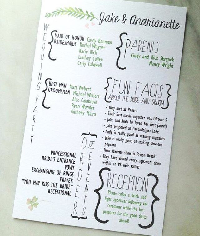 How awesome is this wedding program? Let's be honest, does your whole wedding…