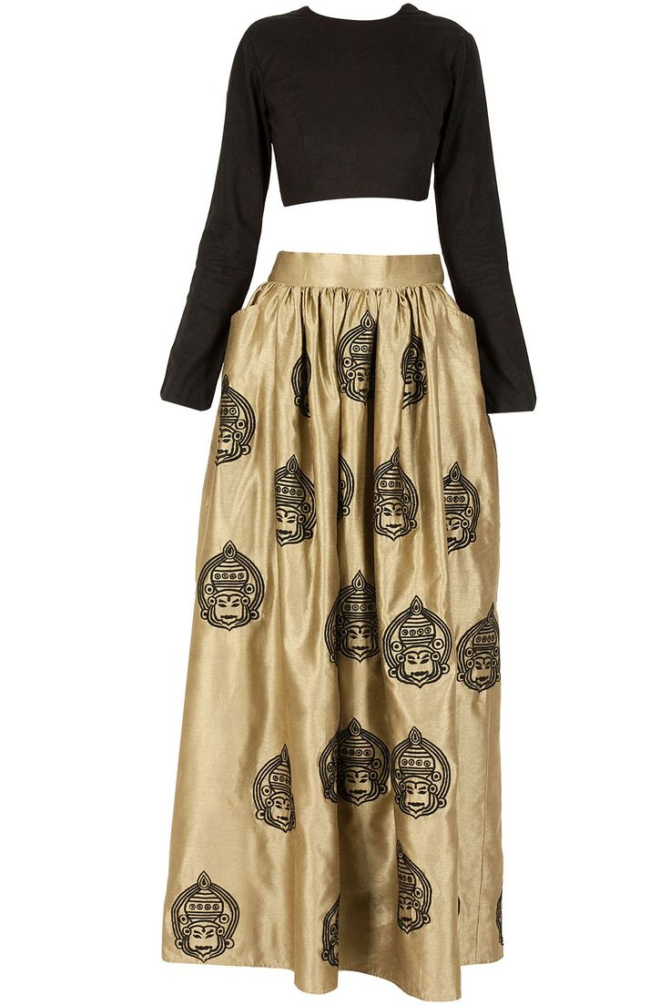 Boxy kathakali motifs lehenga set available only at Pernia's Pop-Up Shop.
