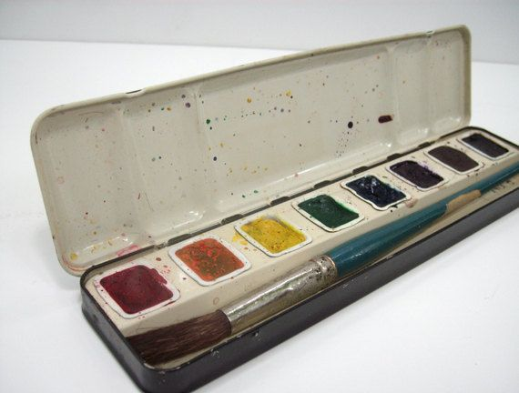 prang watercolor paints tin box with brush