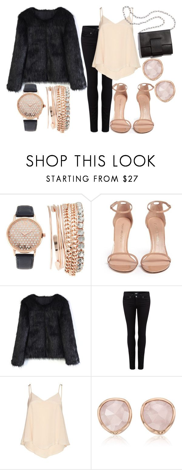 """""""Faux fur coat"""" by hola-hi ❤ liked on Polyvore featuring Jessica Carlyle, Stuart Weitzman, Chicwish, Paige Denim, Alice + Olivia, Monica Vinader, MM6 Maison Margiela and fauxfurcoat"""