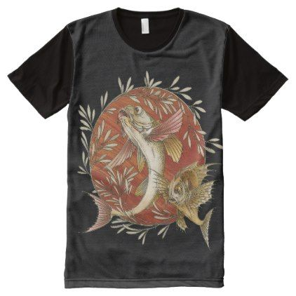 Vintage Japanese Flying Fish with Bamboo Leaves All-Over-Print T-Shirt - vintage gifts retro ideas cyo