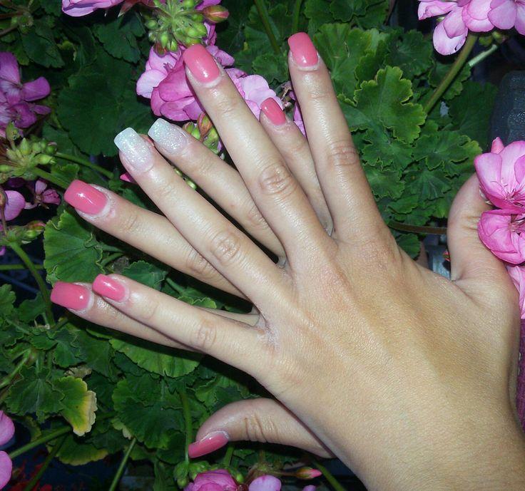 Ricostruzione unghie in gel color corallo con glitter !