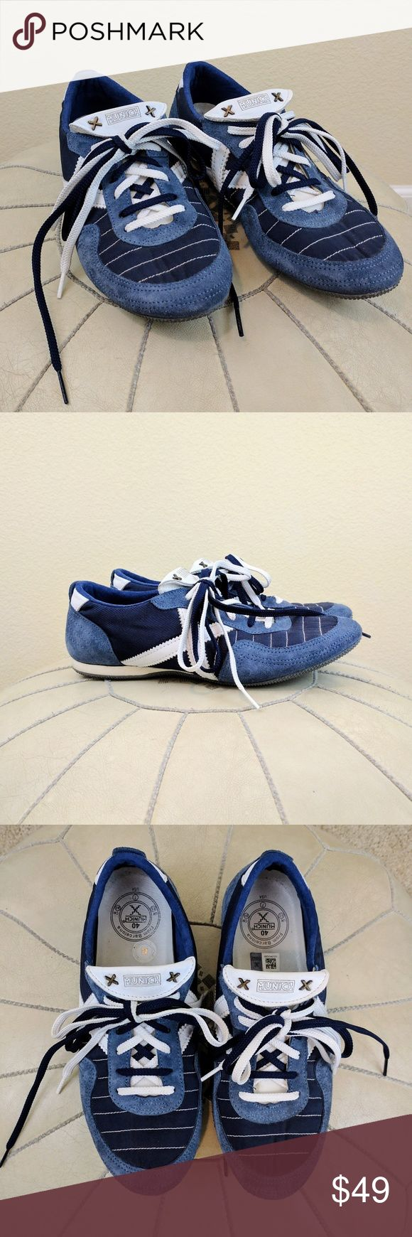 Munich From Barcelona Blue and White Trainers Sz7 These blue and white sneakers by Munich from Barcelona are in excellent condition. They feature double laces and blue suede and nylon with a white crosshatch on the side. Sz 7 men's. Munich   Shoes Athletic Shoes