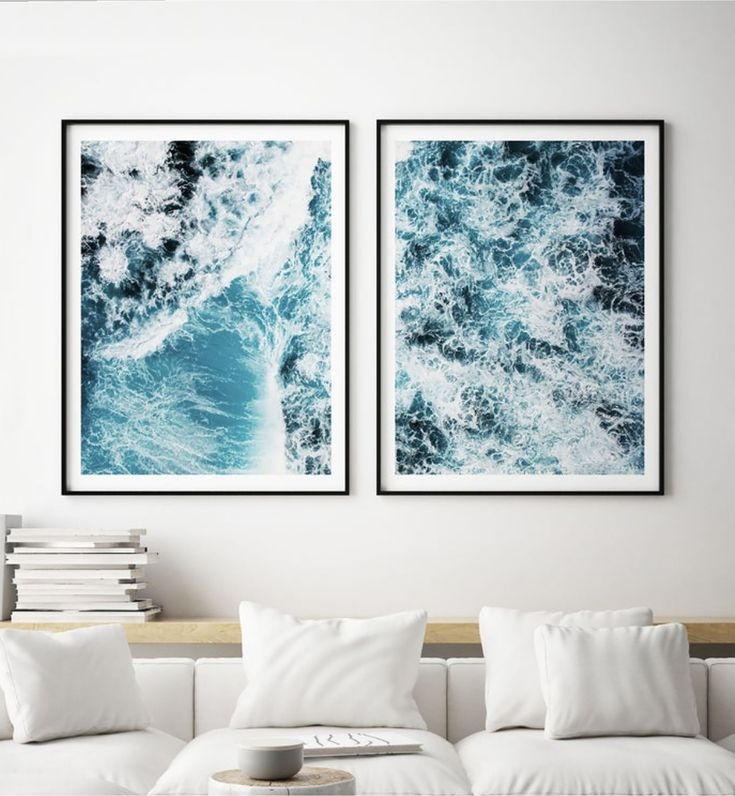 Turquoise Ocean Waves Print Set of 2, Bedroom Decor, Living Room Wall Art Print, 2 Piece Wall Decor, Ocean Waves Photo, Aerial View, #203