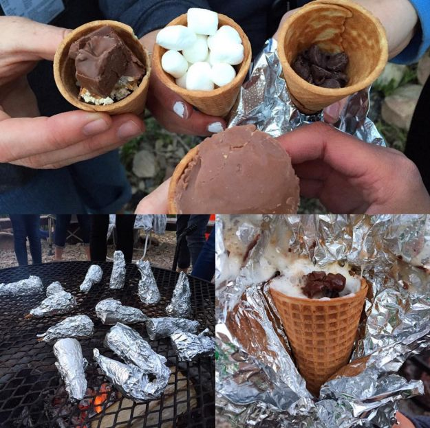 For easy-to-eat s'mores, try making them in ice cream cones.