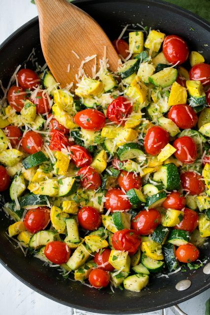 Skillet Garlic-Parmesan Zucchini Squash and Tomatoes