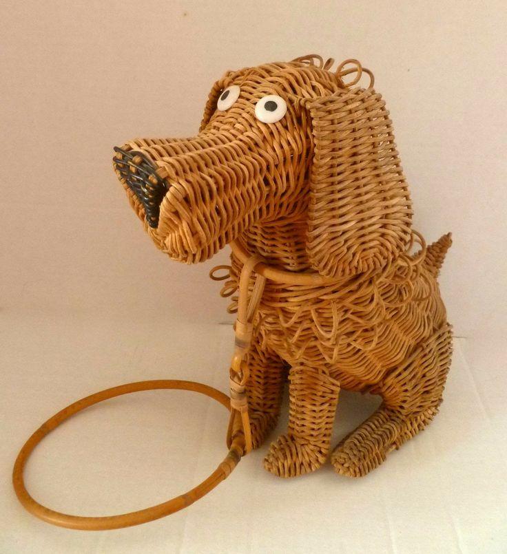 Wicker dog purse.