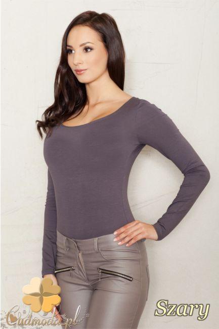 Dopasowane body damskie z dużym dekoltem i długim rękawem wyprodukowane przez FIGL.  #cudmoda #moda #ubrania #odzież #clothes #ubrania