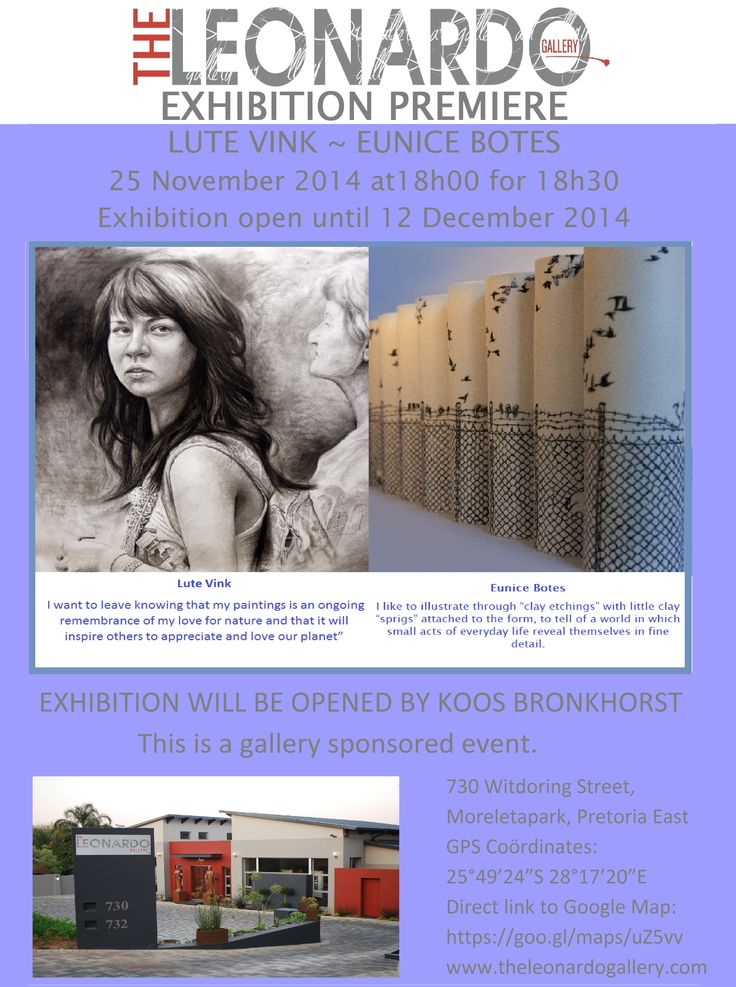 Exhibition premiere of Lute Vink and Eunice Botes