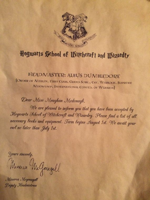 Personalized hogwarts acceptance letter by for Harry potter personalized letter