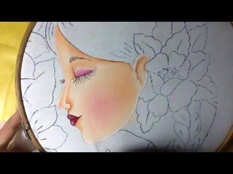Pintura en tela rostro con flores # 1 con cony - YouTube