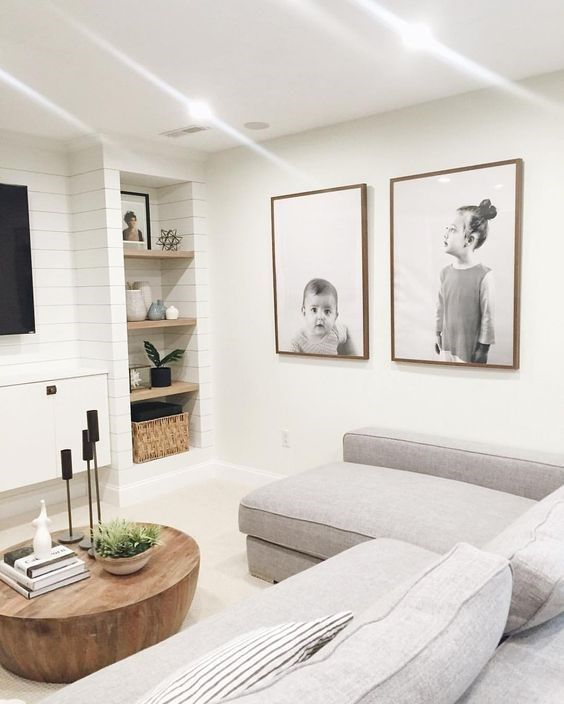 Shiplap instantly takes this media room down a notch and makes it feel relaxed and kid-friendly.