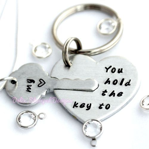 'You hold the key to my <3' necklace and keyring set Hand stamped jewellery, gift, sterling silver, aluminium, Delix Stamped Designs www.DelixStampedDesigns.co.uk