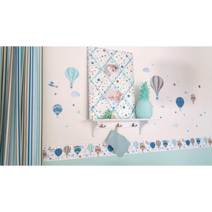 Wandsticker Heißluftballons mint/taupe 33-teilig