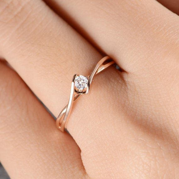 Rose Gold Diamond Engagement Ring Solitaire Infinity Curved Cross Band Anniversary Promise Ring Eternity Women Bridal Solid 14K Simple