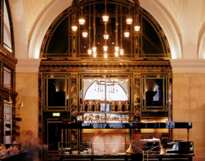 The Wolseley -  restaurant in the grand European tradition - Piccadilly, Mayfair, London. Sunday afternoons are filled with three-tiered afternoon tea.
