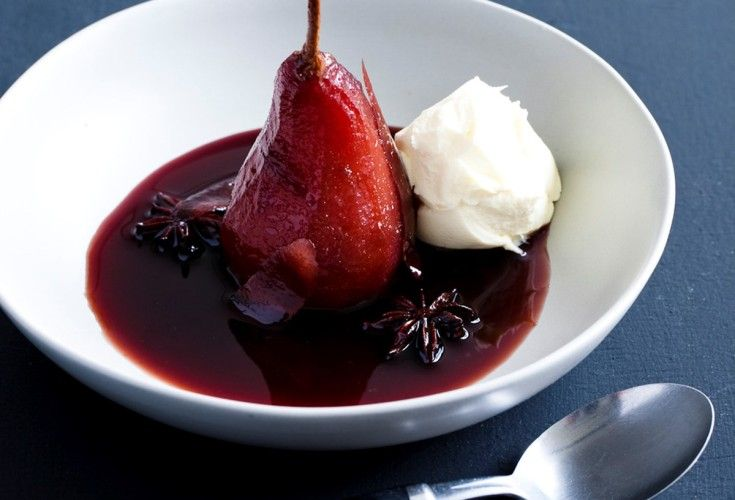 Sticky Red Wine Pears